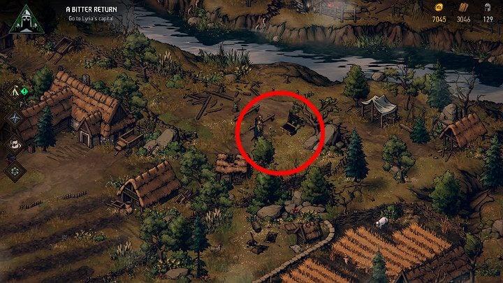 Этот сундук находится рядом с фруктовым садом - сначала нужно решить конфликт между двумя семьями - Скрытые сокровища сундуков в Лирии | Thronebreaker The Witcher Tales - Карты скрытых сокровищ - Тронно-разбойник The Witcher Tales Guide