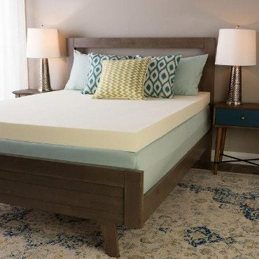 Wood Bed Frame With Memory Foam Mattress And Decorative Pillows