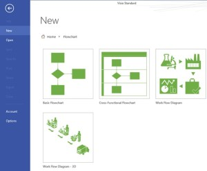 Microsoft Visio 2013 : Selecting a flowchart type  Visio Standard, Visio Professional