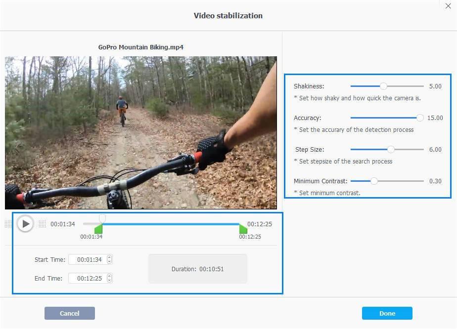 VideoProc Adjust Settings of Deshake Fix Shaky Videos