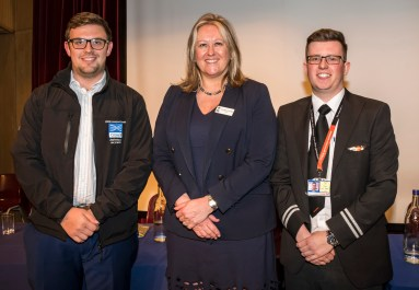 Photo by Liz Finlayson/Vervate LVS Ascot Routes to the World of Work 2018 - LVS Principal Christine Cunniffe with Former LVS Ascot pupils Ben Vine and Tom Slingsby (right)