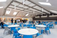 14.09.18. LVS Ascot's £820,000 dining hall refurbishment includes more natural lighting and suspended acoustic ceiling panels