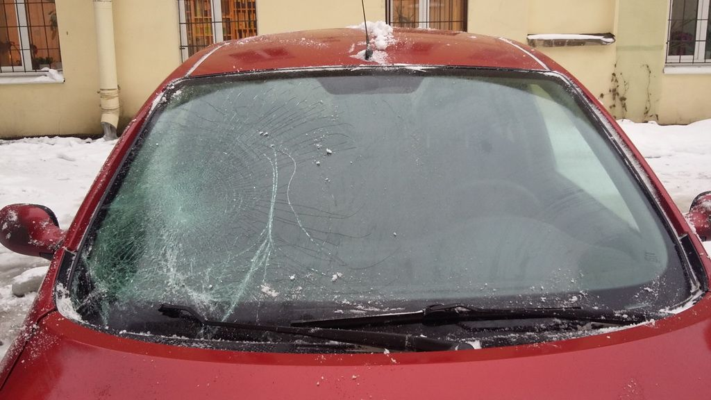 car damaged by icicle
