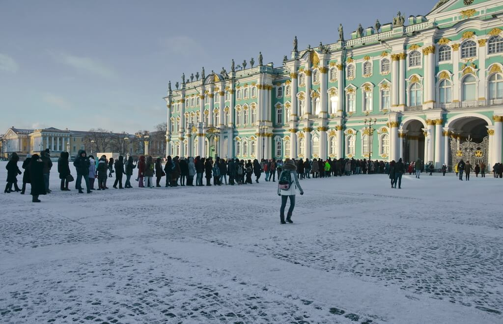 The queue for The State Hermitage museum