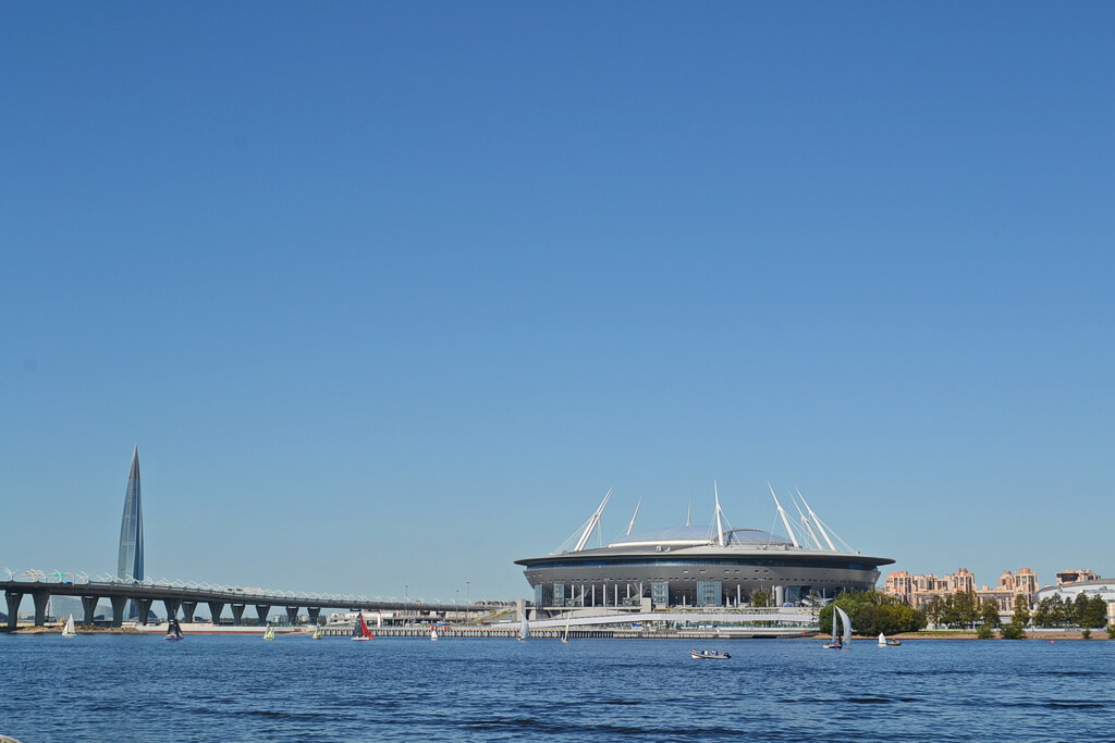Gazprom Arena stadium on the Krestovsky island