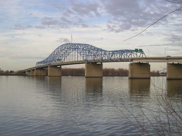 "Pasco-Kenewick ""Blue"" Bridge, Columbia River, Mile Marker 330, WA"