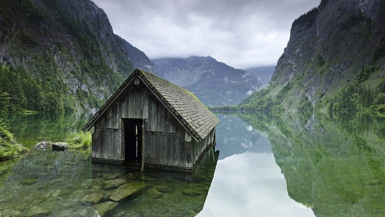 Fishing hut on a lake in Germany