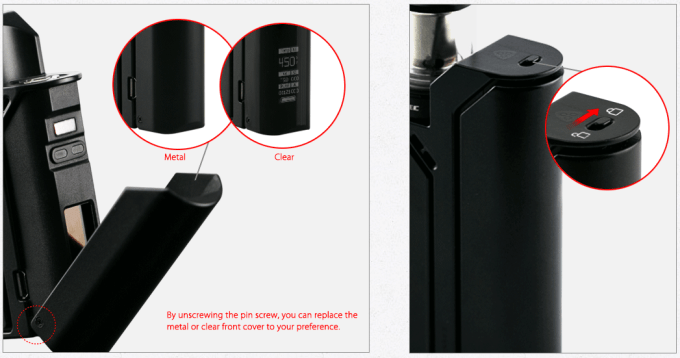 Wismec Reuleaux-RX75 open panel and button lock