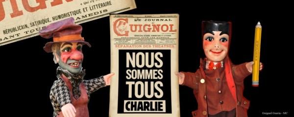 Journal satyrique du XIX_ siècle, Le Journal de Guignol, parodié en soutien au Journal Charlie Hebdo. Nous sommes tous Charlie.