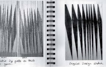 Extract from Journal showing original design and printed and woven fabric