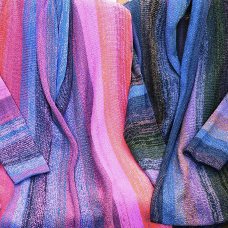 Alison Dupernex - Purples, reds and blues cashmere and silk coats sq