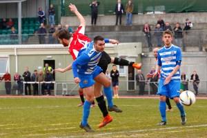 02/04/2016. Guildford City FC v Epsom & Ewell FC. City's Harry Mills
