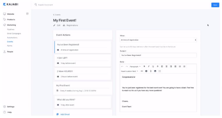 Kajabi event creation page
