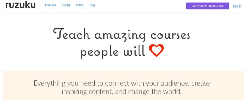 This Image, taken from Ruzuku's homepage, shows their commitment to their clients.