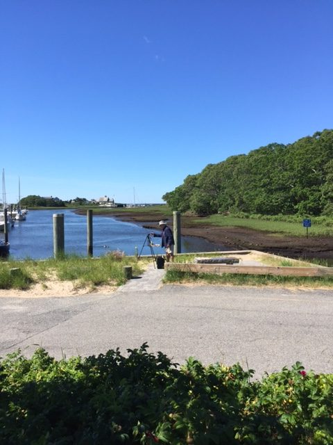Larry Folding painting en plein air at Saqutucket Harbor