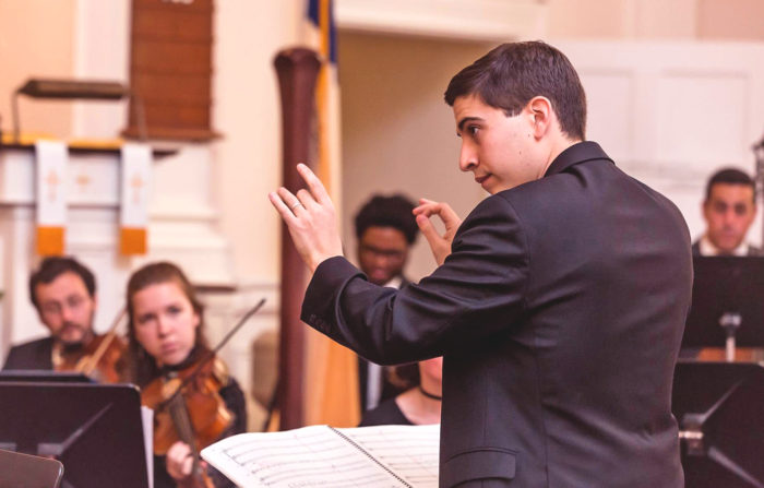 Founding Music Director Matthew Scinto conducting Cape Cod Chamber Orchestra at its debut performance, 2018, by Jean Kirby Photography