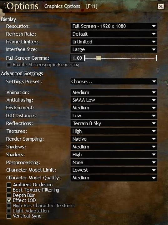 Guild Wars 2 Optimized Performance Settings