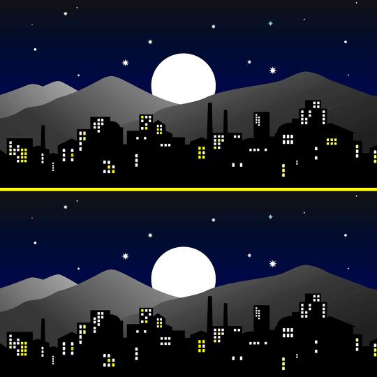 Encuentra las diferencias ciudad por la noche