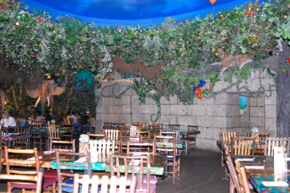 The Rainforest Cafe... with shooting stars going across the ceiling and rainbows!