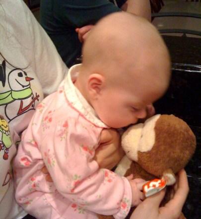 Here I am kissing my Monkey good night.... maybe I will sleep too!
