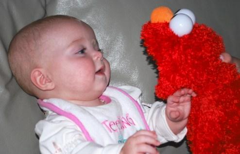 This toy Elmo talks.. and when Elmo talks, I listen!