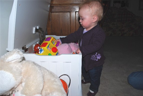 ME STANDING BY THE TOY BOX!