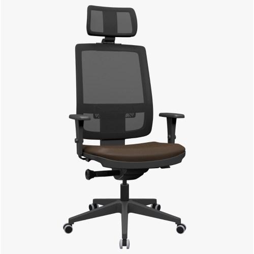 cadeira de escritório Brizza Presidente com mecanismo auto ajustável e base piramidal
