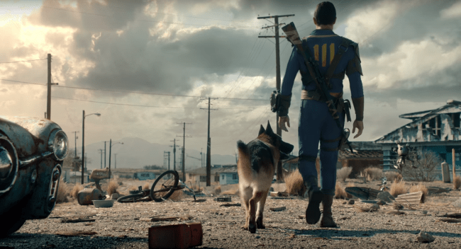 The Lone Wanderer from Fallout 4 and his dog