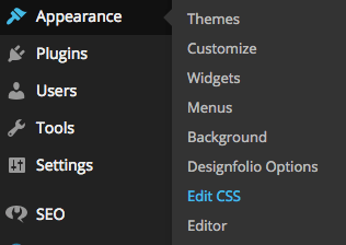 "A screenshot of the WordPress dashboard showing the ""Edit CSS"" feature"