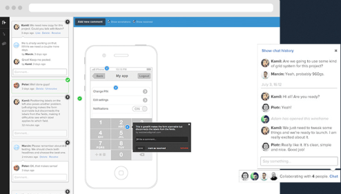 A screenshot of the UXPin rapid prototyping tool showing the design of a mobile app