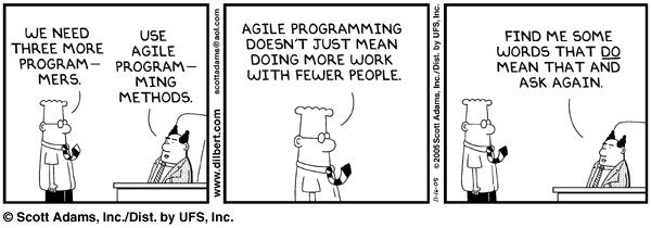 "A Dilbert cartoon about agile programming, published as part of ""Teaching UX and agile project management"""