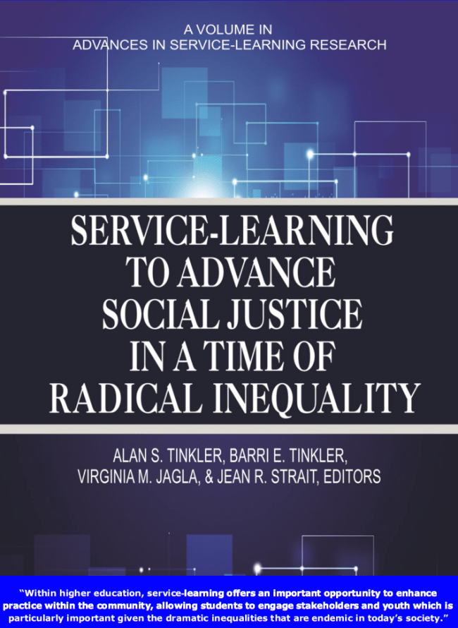 The Cover of the Book Service-Learning to Advance Social Justice in a Time of Radical Inequality, published as part of the post: A Great Model for Teaching UX: Service-Learning