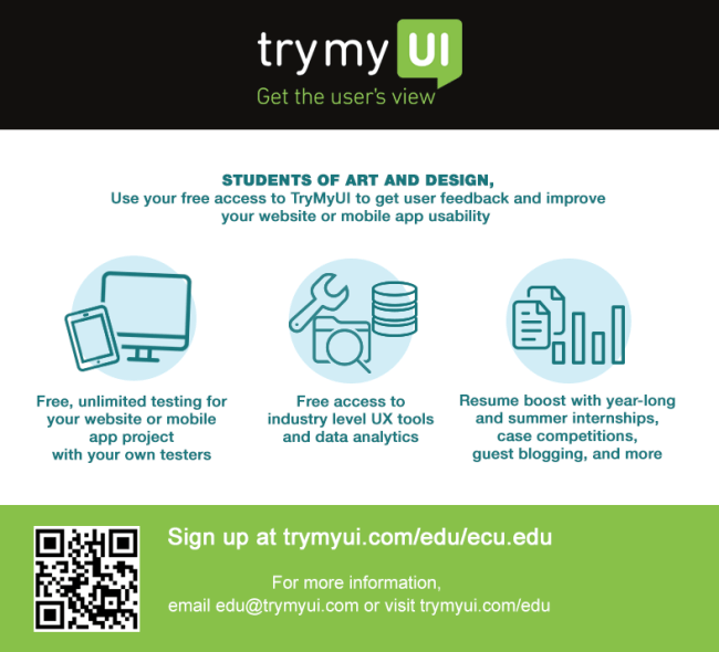 """A flyer for the TryMyUI EDU program, published as part of """"A Free UX Curriculum and Remote Usability Tool: The TryMyUI EDU Program"""""""