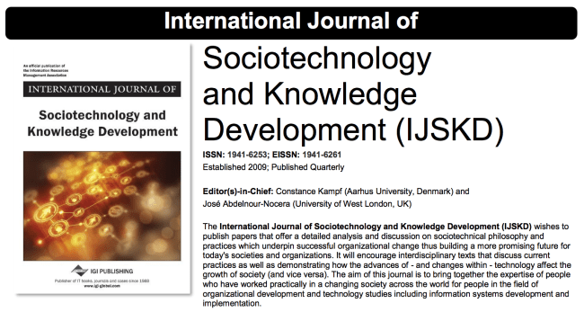 """A brochure for the International Journal of Sociotechnology and Knowledge Development, published as part of """"Teaching Agile Project Management With UX"""""""