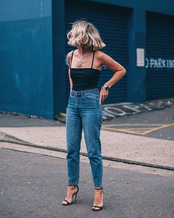 look casual com regata e calça jeans