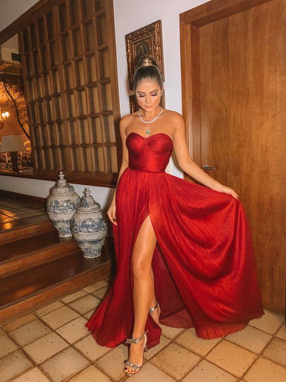 vestido de festa vermelho tomara que caia