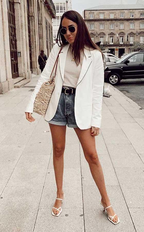 Blazer e short jeans
