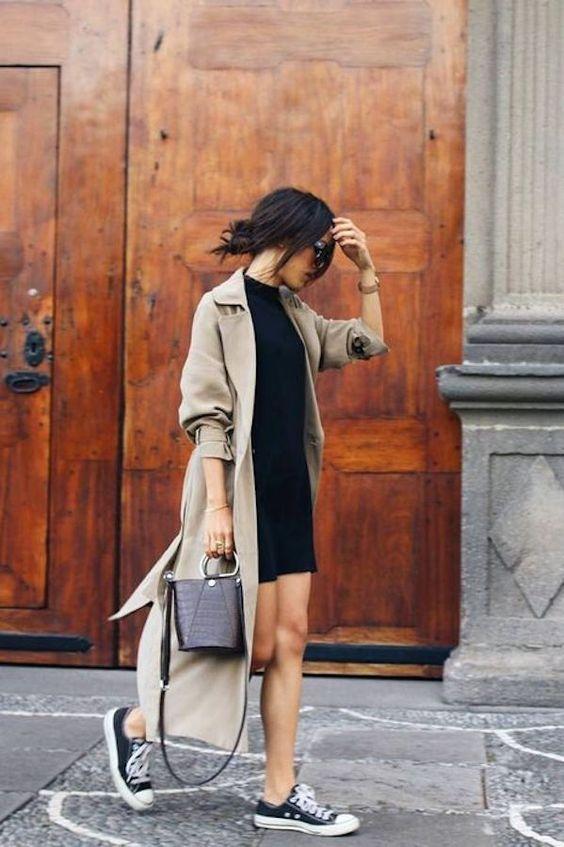 trench coat com vestido preto