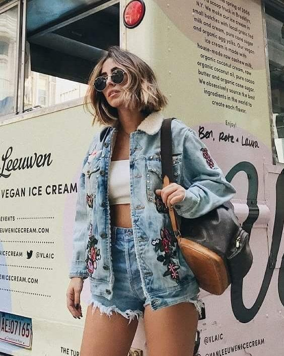 jaquete e short jeans com patches