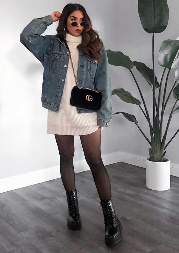 Combos, vestido de gola alta e jaqueta jeans