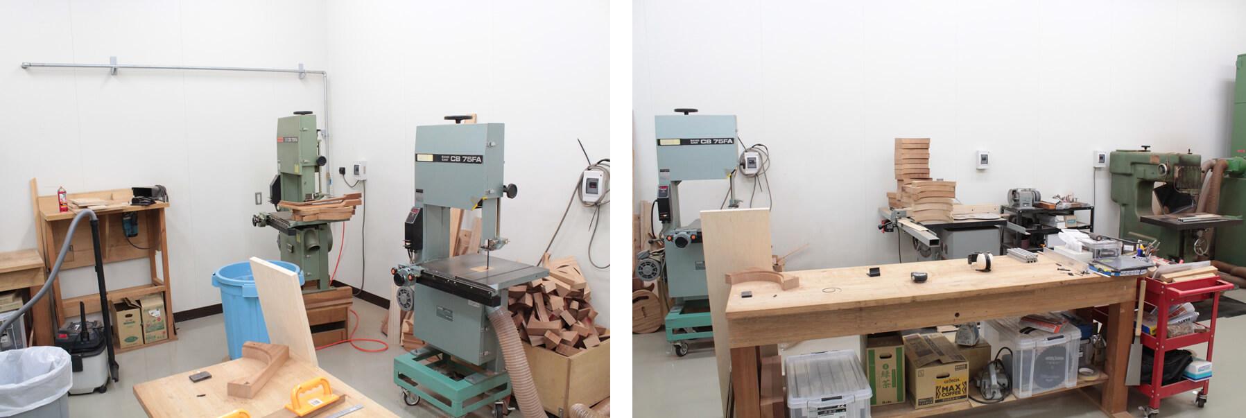 機械加工を行う作業場
