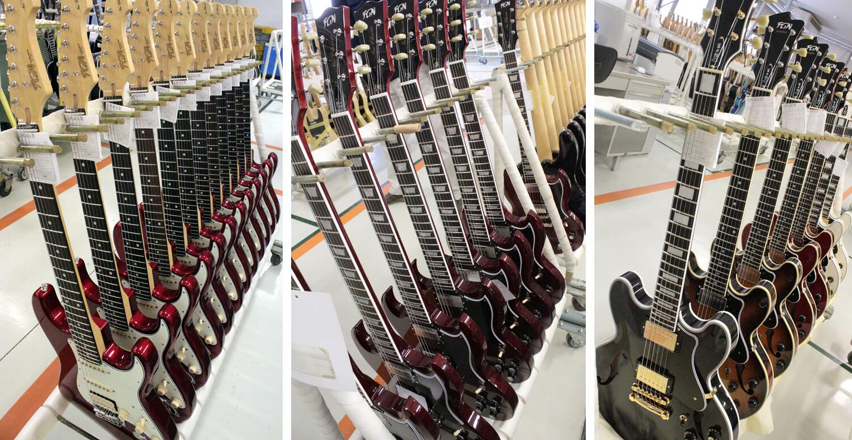 出荷直前のエレキギター