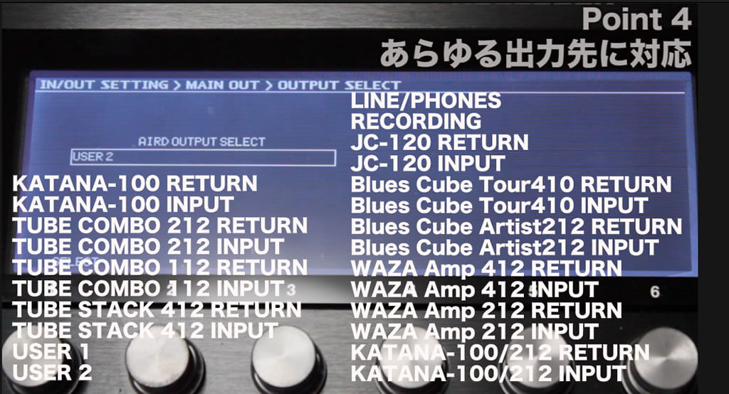 LINE/PHONES、RECORDING、JC-120 RETURN、JC-120 INPUT、Blues Cube Tour410 RETURN、Blues Cube Tour410 INPUT、Blues Cube Artist212 RETURN、Blues Cube Artist212 INPUT、WAZA Amp 412 RETURN、WAZA Amp 412 INPUT     WAZA Amp 212 RETURN、WAZA Amp 212 INPUT、KATANA-100/212 RETURN、KATANA-100/212 INPUT、KATANA-100 RETURN、KATANA-100 INPUT、TUBE COMBO 212 RETURN     TUBE COMBO 212 INPUT、TUBE COMBO 112 RETURN、TUBE COMBO 112 INPUT、TUBE STACK 412 RETURN、TUBE STACK 412 INPUT、USER 1、USER 2