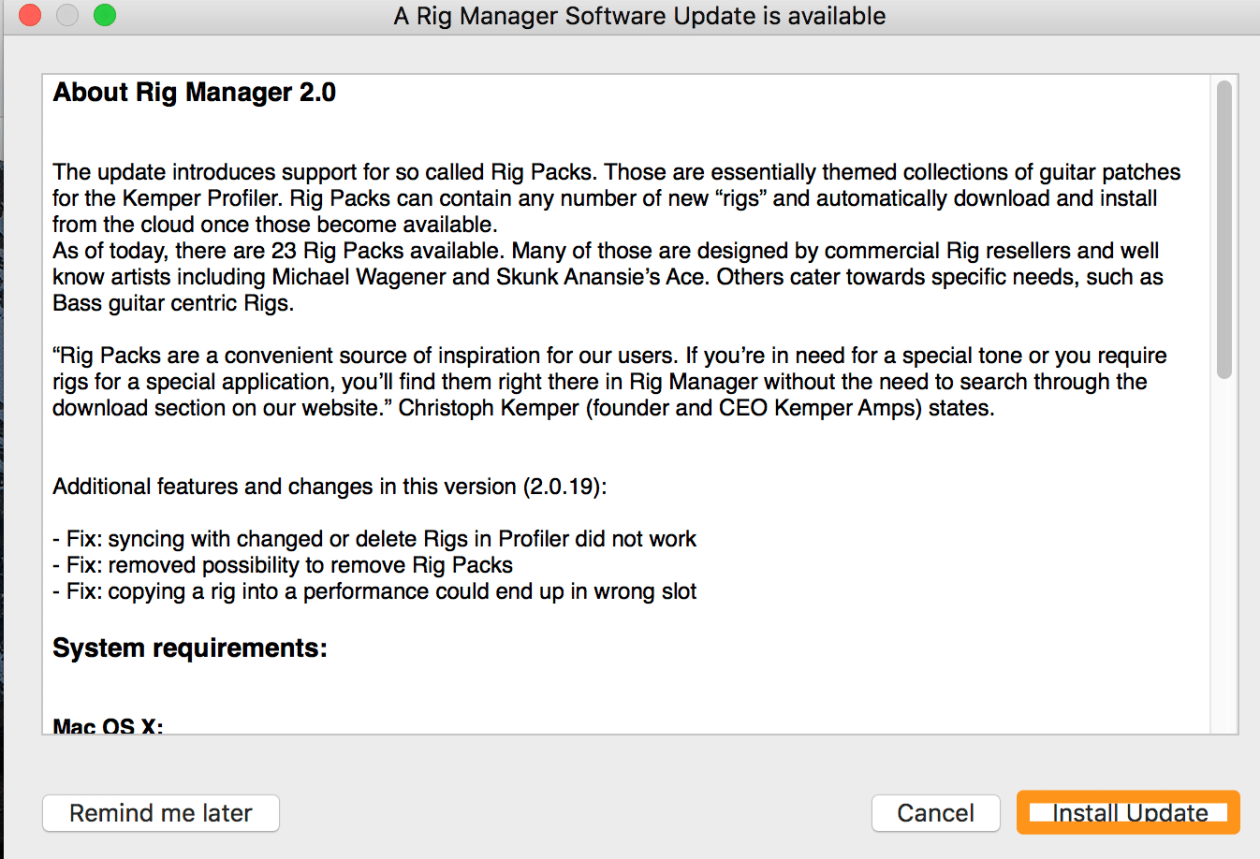 A Rig Manager Software Update is available 3