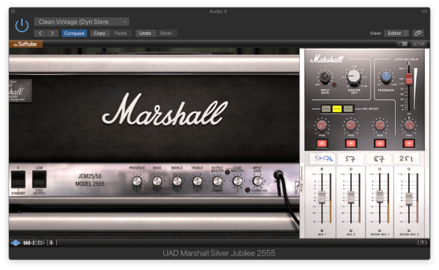 Marshall Silver Jubilee all knobs at 12 o'clock and some room Feedback