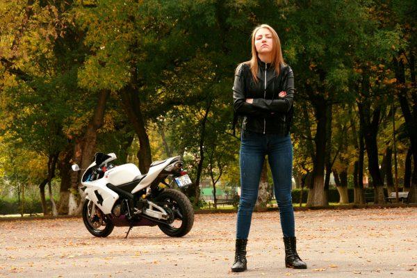 Biker Girl with Leather Jacket