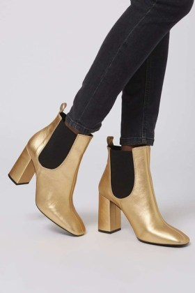 black denim leggings with gold ankle boots