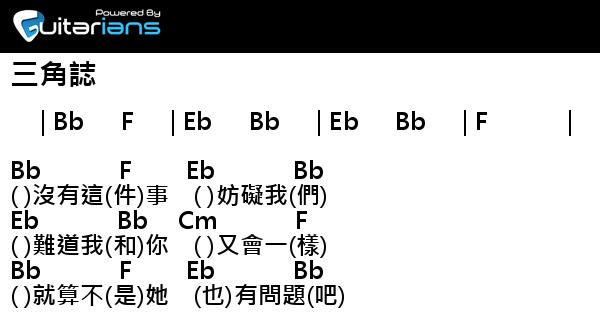 盧巧音 - 三角誌 結他譜 / Chord譜  曲 : 雷頌德 詞 : 黃偉文   Guitarians.com
