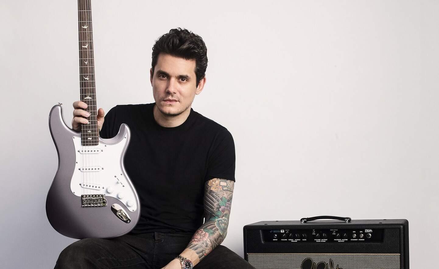 John Mayer com sua guitarra e amplificador signature da PRS