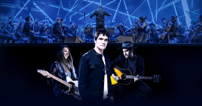 Imagem promocional do Sinfonia Samsung Rock. Lari Basilio, Samuel Rosa e Rodrigo Suricato com a orquestra ao fundo.